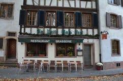 Historisk Brasserie i Strasbourg/Frankrike Arkivbild