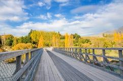 Historisk bro över den Shotover floden, Nya Zeeland Fotografering för Bildbyråer