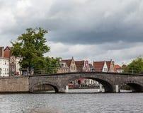 Historisk bro Bruges Belgien Arkivbilder
