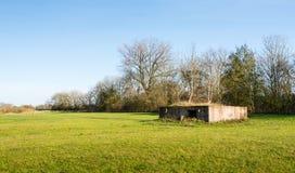 Historisk bunker i Nederländerna Arkivbild