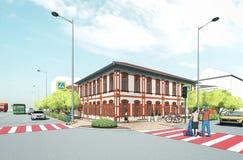 historisk byggnad 3d på den siberian gatan royaltyfri illustrationer