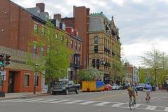 Historisk byggnad i Charlestown, Boston, MOR, USA Arkivfoton