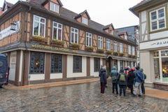 Historisk byggnad i den Schwerin Tyskland och en grupp av turister november 30 2018 royaltyfria bilder