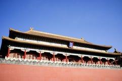 Historisk byggnad inom den Tiananmen fyrkanten Arkivbild