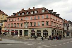 Historisk byggnad på den Wielandpl fyrkanten i Weimar Arkivbilder