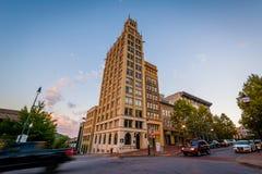 Historisk byggnad på packefyrkanten, i Asheville, North Carolina Royaltyfri Fotografi
