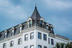Historisk byggnad p? den Wisconsin avenyn, i Georgetown, Washington, DC arkivbild