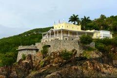 Historisk byggnad på St Thomas Island, USA Jungfruöarna, USA Fotografering för Bildbyråer