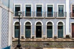 Historisk byggnadsfasadSao Luis gör Maranhao Arkivfoto