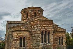 Historisk byzantine kyrka i den Korfu staden royaltyfria foton