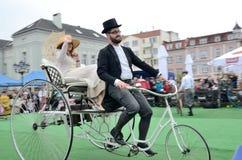 Historisk cykelshow Royaltyfri Fotografi