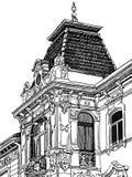 Historisk Digital teckning av Lviv (Ukraina) Royaltyfria Bilder