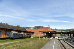 Historisk drevstation i Seebad Heringsdorf Arkivbilder