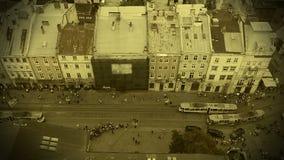 Historisk forntid av den forntida staden, lansering av första spårvägar i Lviv, Ukraina arkivfilmer