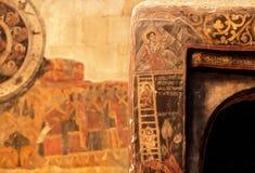 Historisk freskomålning av den Svetitskhoveli domkyrkan som byggs i det 4th århundradet i Mtskheta, Georgia Lokal för Unesco-värl Royaltyfri Fotografi