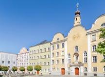 Historisk gammal stad av Burghausen, Bayern, Tyskland Fotografering för Bildbyråer