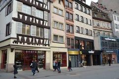 Historisk gata av Strasbourg i Frankrike Royaltyfria Bilder