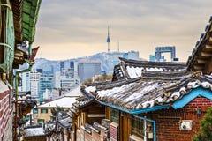Historisk grannskap av Seoul Arkivfoto
