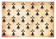 Historisk Grungeflagga av hertigdömet av Brittany France Fotografering för Bildbyråer