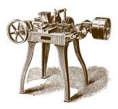Historisk halvautomatisk tråd-malning maskin stock illustrationer
