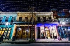 Historisk i stadens centrum mobil, Alabama under en aftonblåtttimme Fotografering för Bildbyråer