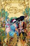 Historisk Iconic klassisk plats för balkong för New Orleans hälsningkort royaltyfri illustrationer