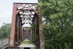 Historisk järnvägbro Marietta Ohio arkivbild