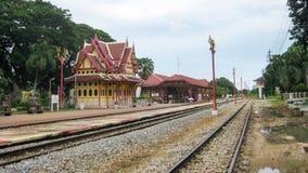 Historisk järnvägsstation i Hua Hin Royaltyfri Bild