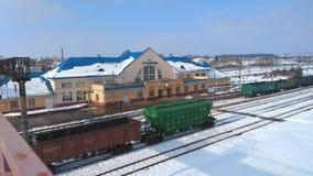 Historisk järnvägsstation Stolbtsy, Vitryssland Fotografering för Bildbyråer
