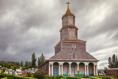 Historisk kyrka av Nercon, katolsk tempel som lokaliseras i chiloten arkivfoton