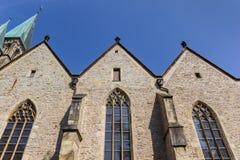 Historisk Laurentius kyrka i mitten av Warendorf Arkivbilder