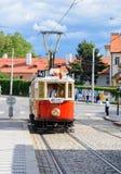 Historisk linje 41 för Prague museumspårvagn Arkivbilder
