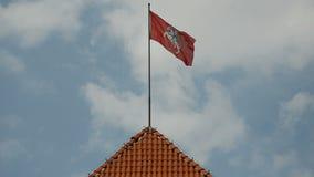 Historisk litauisk flagga på den Trakai slotten stock video