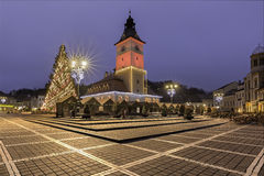 Historisk medeltida stad av Brasov, Transylvania, Rumänien, i vintern December 6th, 2015 Royaltyfri Foto
