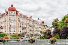 Historisk medicinsk brunnsortloppdestination, Tjeckien, Europa Royaltyfri Bild