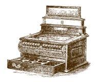 Historisk mekanisk kassaregistereller att bruka med den öppna enheten stock illustrationer