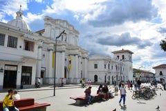 Historisk mitt av den koloniala staden av Popayà ¡ n, Colombia fotografering för bildbyråer