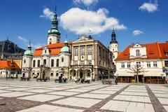 Historisk mitt av Pszczyna i den Silesia regionen, Polen Fotografering för Bildbyråer