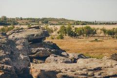 Historisk monument i Zaporozhye Ukraina stengrav arkivfoto