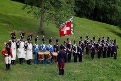 Historisk Napoleonic mer granadier i Aquila, Schweiz royaltyfri fotografi