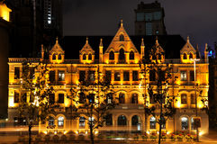 historisk natt shanghai för byggnadsbundaffär Arkivfoto