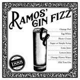 Historisk New Orleans coctail Ramosen Gin Fizz stock illustrationer