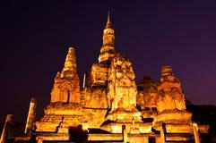 historisk parksukhothaithailand skymning Fotografering för Bildbyråer
