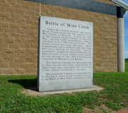Historisk plats för min liten vikslagfälttillstånd, Pleasanton, KS Arkivfoto