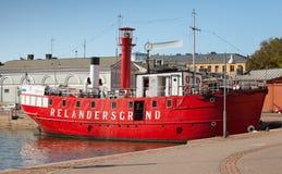Historisk röd Relandersgrund fyrskepp Fotografering för Bildbyråer