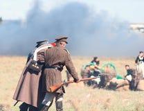 Historisk reenactment av det Crimean kriget Arkivfoton