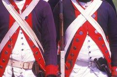 Historisk Reenactment, Daniel Boone Homestead, brigad av den amerikanska revolutionen, kontinentalt arméinfanteri arkivfoto