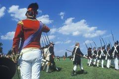 Historisk Reenactment, Daniel Boone Homestead, brigad av den amerikanska revolutionen, kontinentalt arméinfanteri arkivbilder