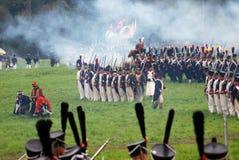 Historisk reenactment för Borodino strid i Ryssland Royaltyfri Fotografi