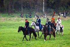 Historisk reenactment för Borodino strid i Ryssland Royaltyfri Foto